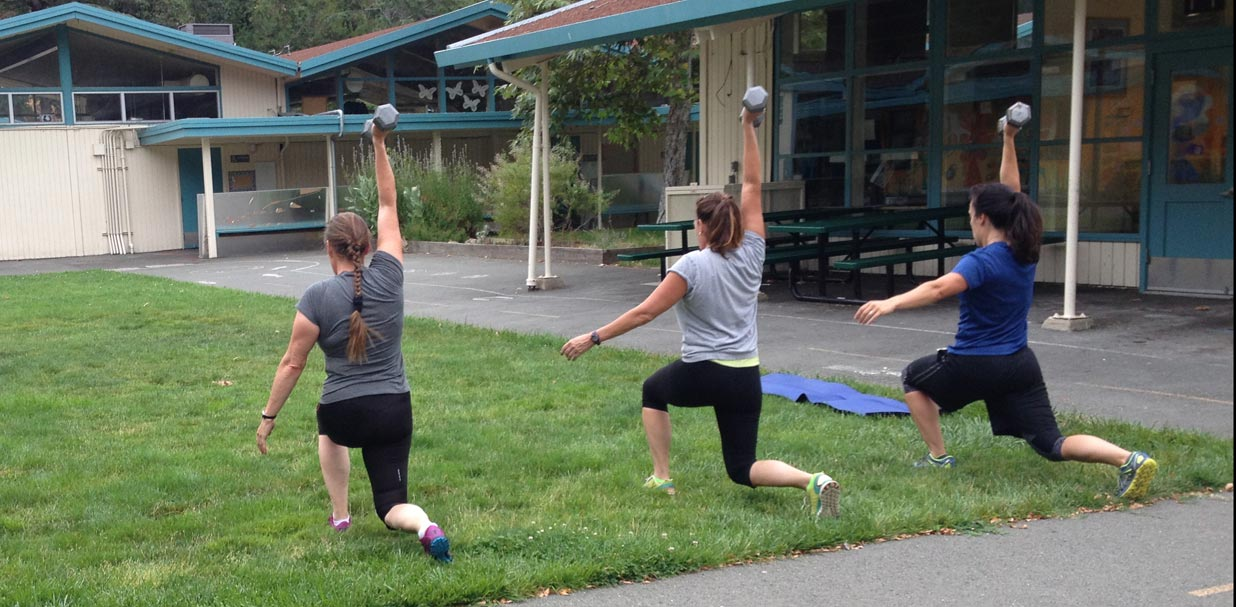 Small Group Fitness: weighted walking lunges