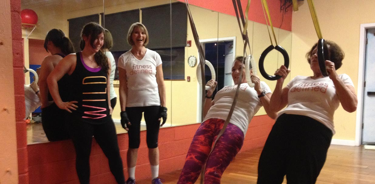 Small Group Fitness: ring rows in the gym